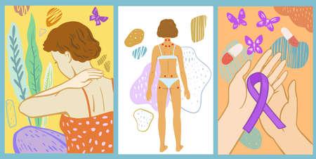 Set of illustration about fibromyalgia. Symbol of fibromyalgia. Chronic pain and tender points. Vector illustration