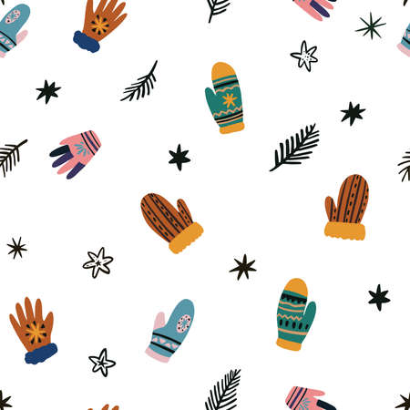 Cute vector set of winter clothing clip art, hats, mittens and gloves. Freehand drawn doodle. Vector illustration