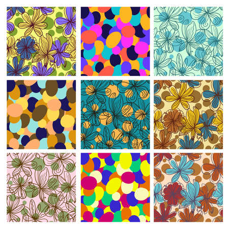 Big set of retro warm colorful simple seamless patterns with abstract floral and circle elements. Vector illustration.