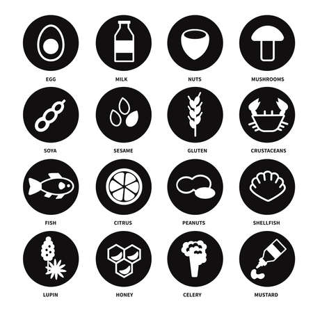 Large set of black and white icons with the main allergens in food. Vector illustration