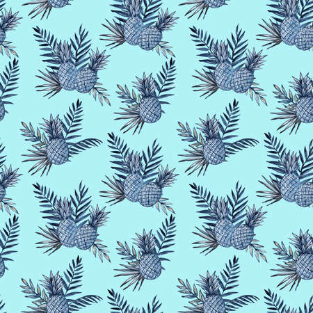 Watercolor seamless pattern with pineapples and tropical leaves. High quality illustration. Фото со стока