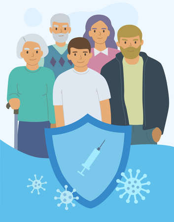 A family of three generations under the reliable protection of a vaccine against the virus. Covid 19 vaccination concept. Vector illustration Vektoros illusztráció