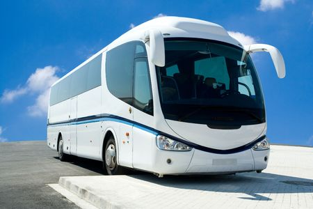 Tour Bus dans le Parking Lot Banque d'images