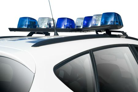 car crime: white Police or security car with blue lights Stock Photo