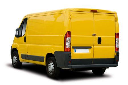 Big Yellow livraison Van isol� sur blanc Banque d'images