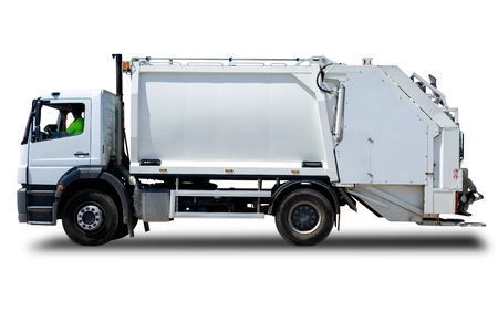 dumps: White Garbage Truck Isolated with a Driver
