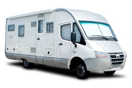 White Recreational Vehicle Isolated with a Shadow Stock Photo