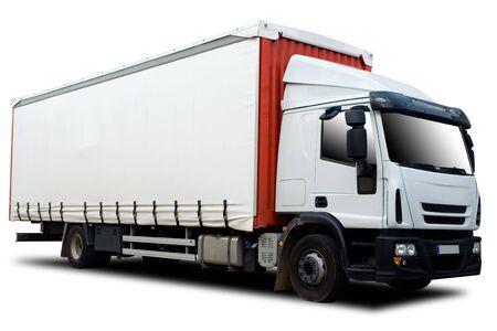 Rouge et blanc Semi Truck isol� Banque d'images