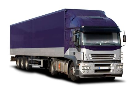 truck driver: Big Purple Semi Truck Isolated on White