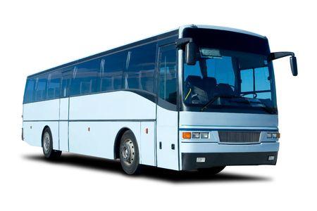 passenger buses: Big Blue Bus Tour Aislado en blanco