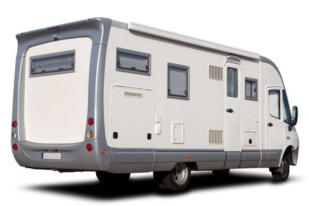 motor home: Big Recreational Vehicle Isolated on White with Shadow Stock Photo