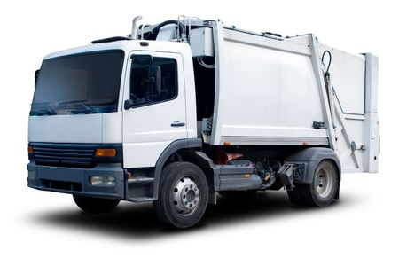 camion de basura: Aislado en blanco Cami�n de basura con gota de Sombra