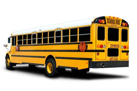 Yellow School Bus Isolated on White with Shadow photo