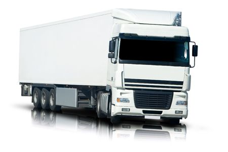 big: Big White Semi Truck with Reflection and Isolated Stock Photo