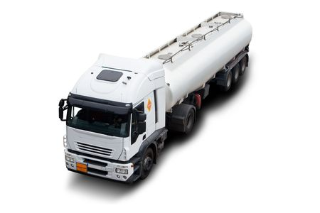 A Big White Fuel Tanker Truck Isolated photo