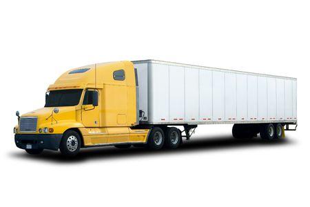 trailer: A Big Yellow Semi Truck Aislado en blanco Foto de archivo