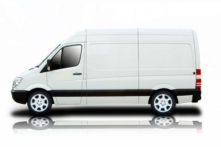 A Delivery Van with Cool Wheels Isolated on White