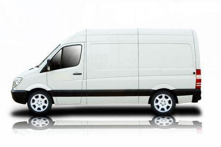 Un Van de livraison avec roues cool propre � blanc