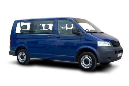 passenger vehicle: Una van de pasajeros Blue aislada en blanco