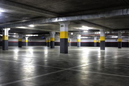empty: A Big Empty yellow Underground Parking Garage Editorial