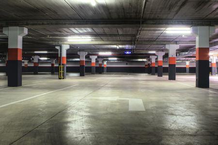 An Empty Underground Concrete Parking Garage