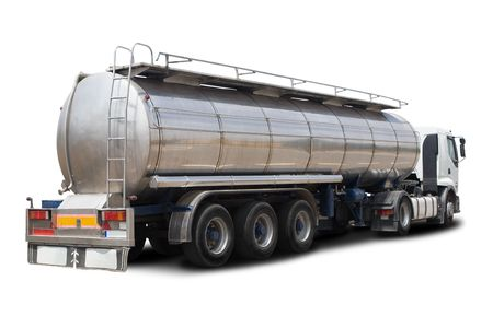 A Big Fuel Tanker Truck Isolated on White photo