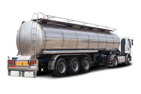 barco petrolero: Un cami�n cisterna de combustible Big Aislado en Blanco
