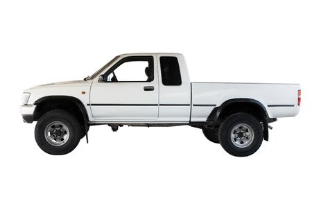 wheel truck: A Big White Pickup Truck Isolated Window Open