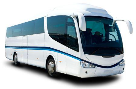 A Big White Tour Bus Ready for Tourist Banque d'images