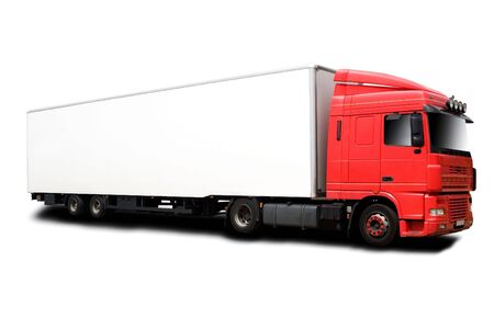A Big Red Semi Truck Isolated on White