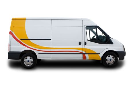 A Big White Delivery Van with yellow and red stripes