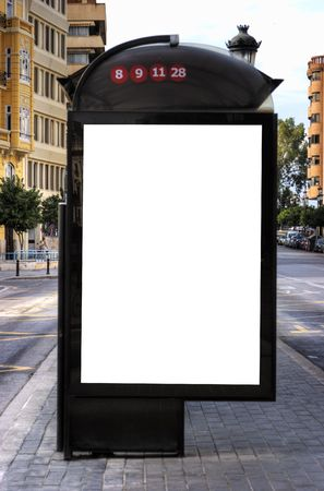 A Big Blank Bus Stop Advertisement Space photo