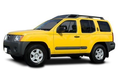 windows: A Yellow Sport Utility Vehicle Isolated on White