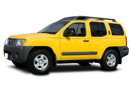 Een gele Sport Utility Vehicle op wit wordt geïsoleerd