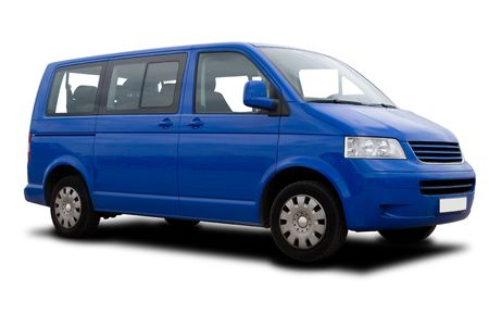 A Blue Passenger Van Isolated on White