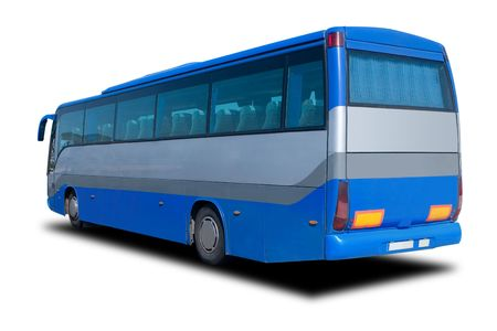 A Big Blue Tour Bus Isolated on White