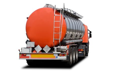 heavy fuel: A Big Orange Fuel Tanker Truck Isolated on White Stock Photo