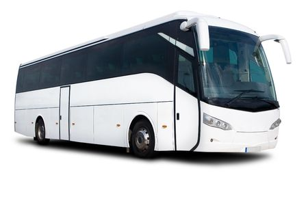 coach bus: A Big Tour Bus Isolated on White Stock Photo