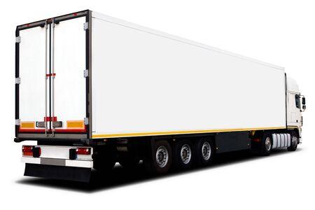 A Big White Semi-Trailer Truck Isolated photo