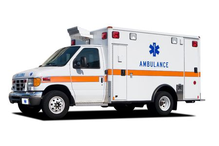 ems: A Medical Ambulance Standing By and Isolated on White Stock Photo