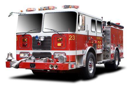 motor ardiendo:  Grandes camiones de rojo fuego aislados en blanco