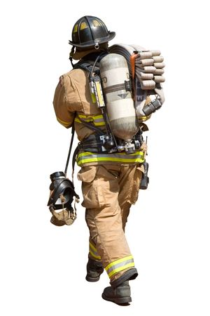fireman: Fireman Walking with a Fire Hose and Mask Stock Photo