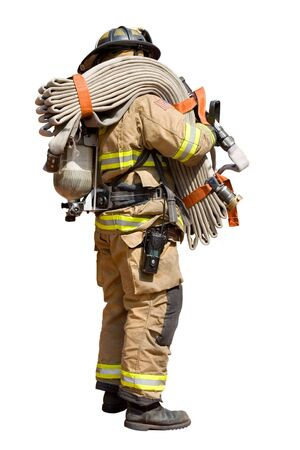 fireman: Isolated Fireman Standing with a Fire Hose Stock Photo