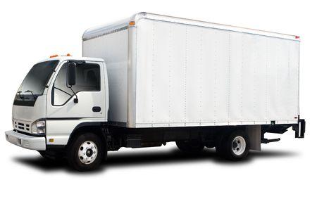 camion: Un cami�n de gran entrega aislado en blanco  Foto de archivo