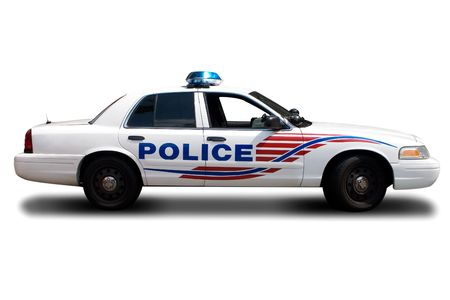 police force: A Police Car Isolated on White Background Stock Photo