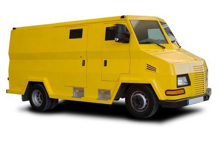 Een grote gele auto gepantserd geïsoleerd op wit Stockfoto
