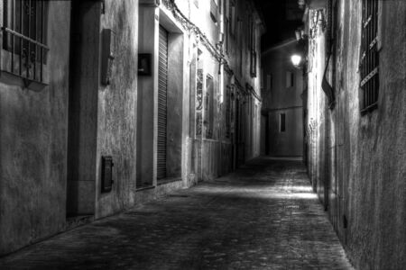 the cobblestones: A Narrow European Street at Night in Black and White