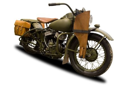 Green Antique Military Motorcycle Isolated on White photo