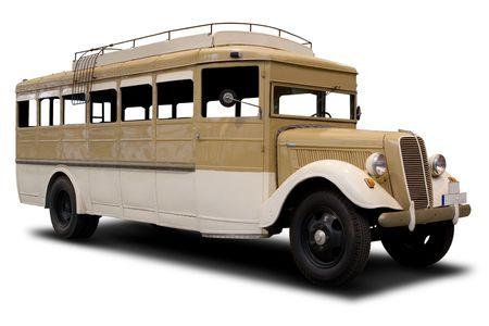transporte escolar: Gran bus de Classic marr�n aislados en blanco Foto de archivo