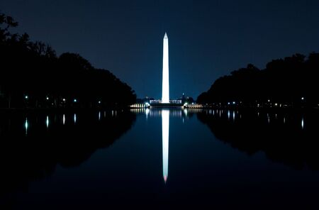 reflecting: WASHINGTON, DC - AUGUST 25: Night scenery of the Washington Monument and the Reflecting Pool on August 25, 2009 in Washington, DC, USA.